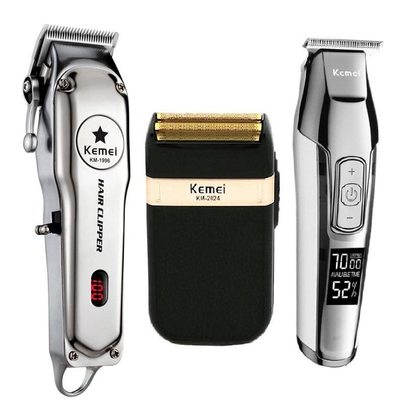 KEMEI كل معدن الفنية الكهربائية قص الشعر قابلة للشحن الشعر المتقلب حلاقة الحلاقة آلة عدة KM 1996 KM 5027 KM 2024