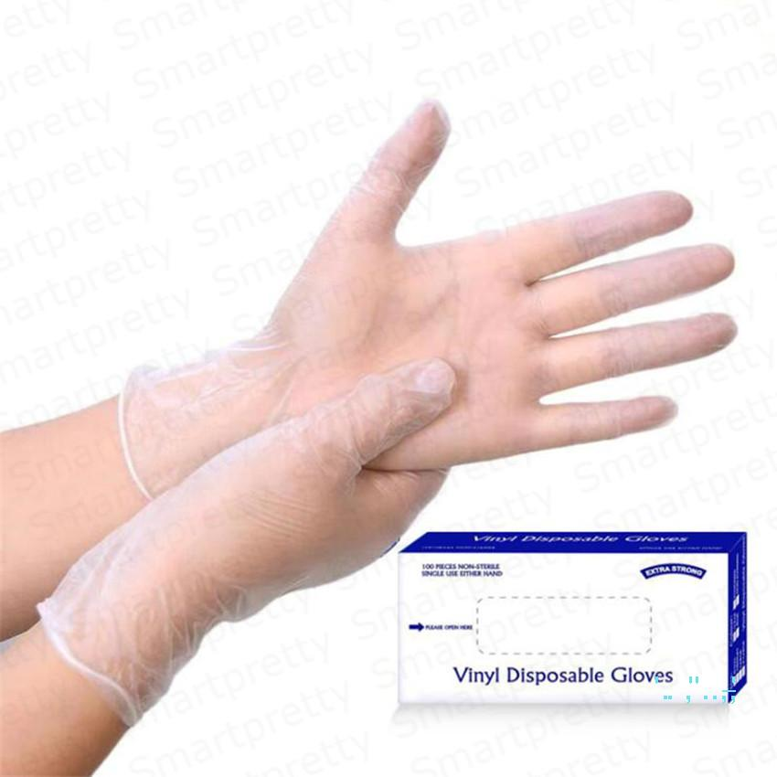 100pcs / package Disable Pvc Transparent Gloves Environmental Protection Anti Dust Gloves Without Powder Household Office Supplies E32413