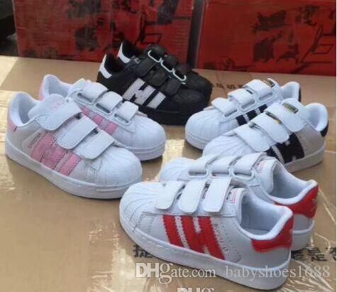 Branded Superstar Calçados Esportivos Crianças Sapato Clássico Design Preto Branco Do Bebê Caçoa as Sapatilhas Sapatilhas Atléticas Ocasionais