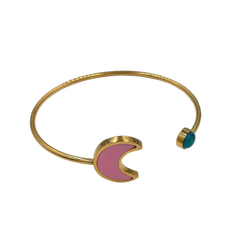 Uh Nouveau ne se fanent les femmes de mode Qualité de luxe Bijoux en acier inoxydable manchette ouvert porte argent or Bracelet Bracelet Osos mujer