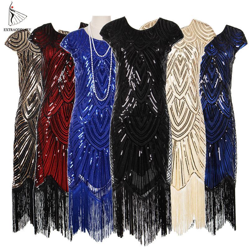 Womens 1920s Vintage Flapper Great Gatsby Party Dress V-neck Sleeve Sequin Fringe Midi Dresses Accessories Art Deco Embellished J190619