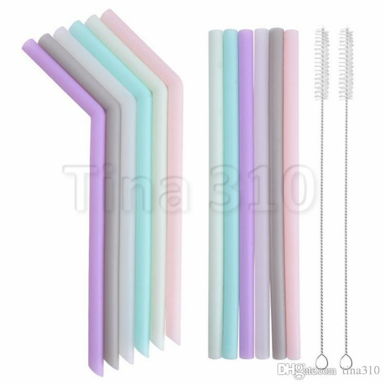 Silicone droite Buvant Accessoire à domicile Réutilisable Paille pliée en silicone Barre de paille chaude Bent Multi-Couleur 6018 Tube Ducvw