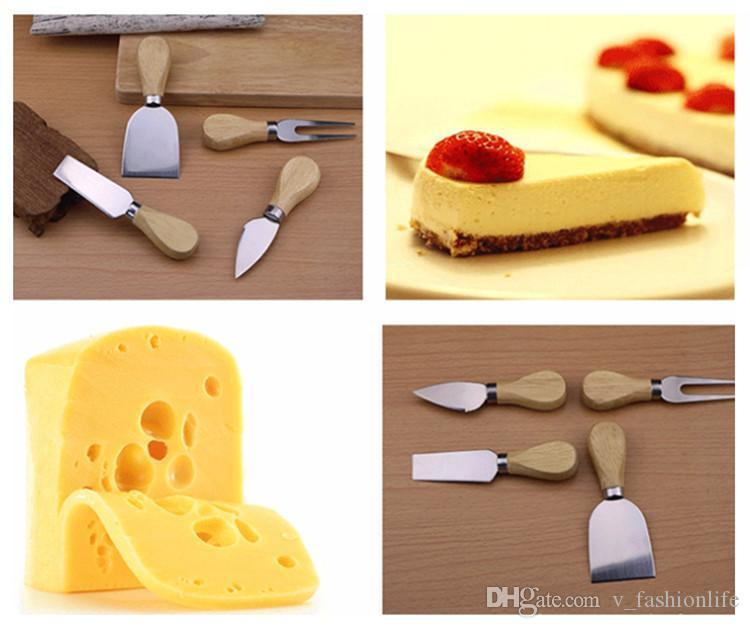 Queso útil Estuche 4pcs / set roble mango del cuchillo Fork pala Kit ralladores de queso de corte Junta Hornear Establece mantequilla pizza máquina de cortar del cortador