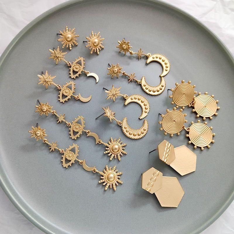 Flatfoosie Vintage Gold Farbe Stern-Mond-Sonne Blicks-Charme-Ohrringe für Frauen Mode Geometrische lange Tropfen-Ohrringe Partei Schmuck
