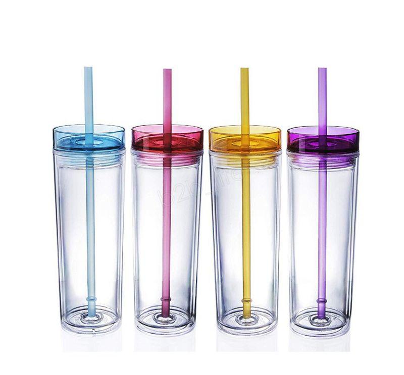 Bicchiere da 16 once in acrilico dritto Bicchiere alto magro 480 ml Bicchieri da tazza a doppia parete chiari con coperchio e imbottigliatore di acqua di paglia LJJA2996
