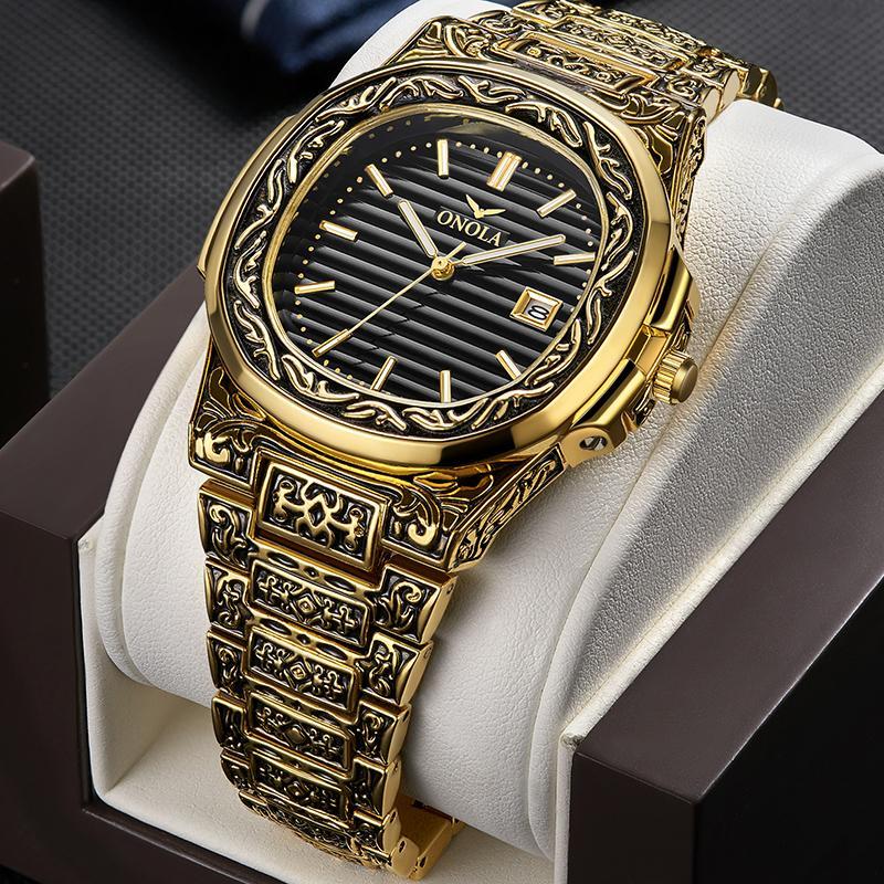 Creative Design Rétro Hommes Quartz Montres-bracelets en acier pleine Calendrier étanche Mode Hommes Montres Top Marque Luxe Homme Horloge