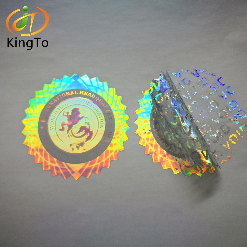 Özelleştirilmiş renkli düzensiz şekil güvenlik GEÇERSİZDİR hologram etiket
