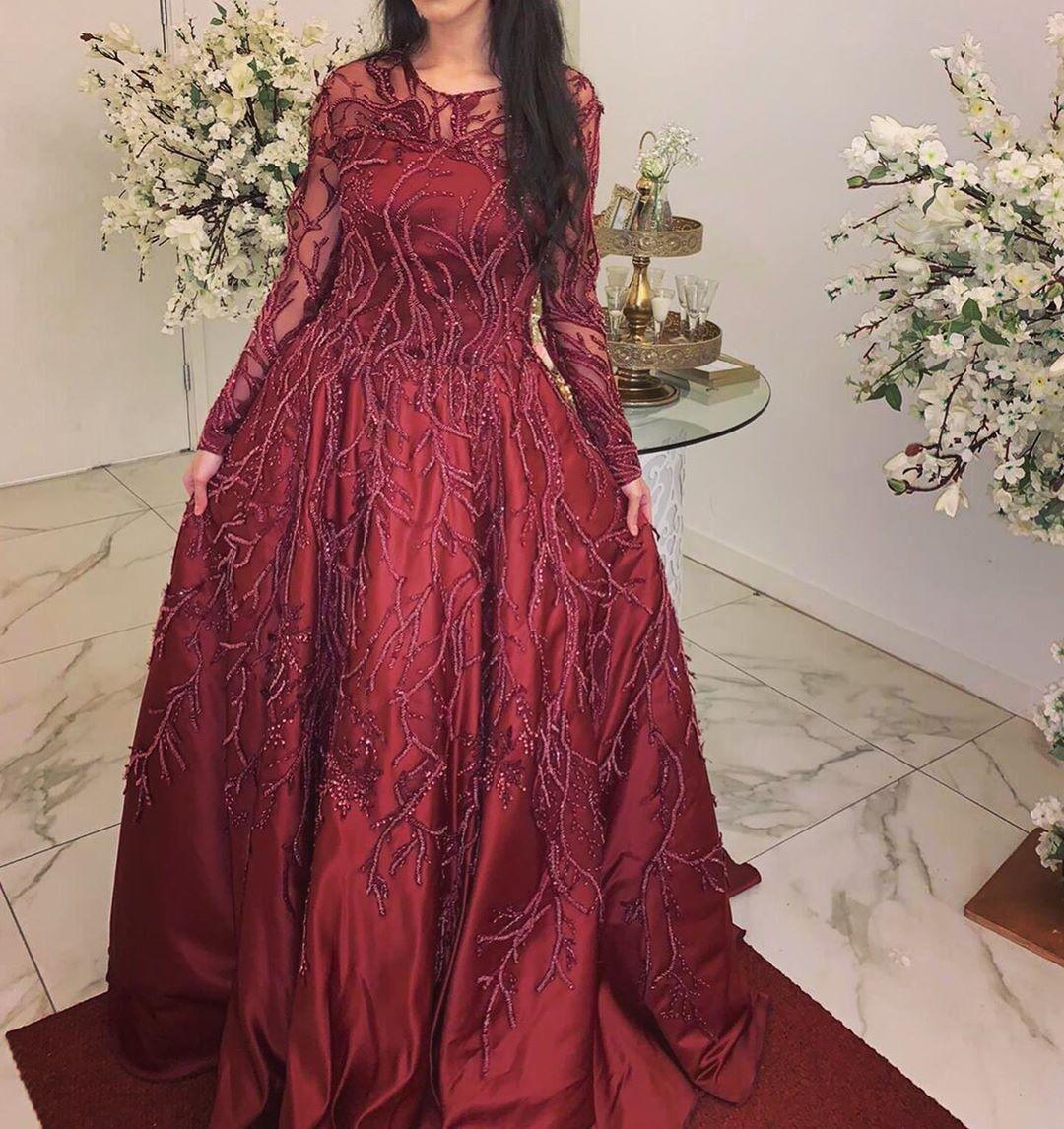 2020 Arabisch Aso Ebi Muslim Spitze Perlen Abendkleider Sheer Ansatz reizvolle Abendkleider Burgundy formale Partei-Zweite Rezeption Kleider ZJ204