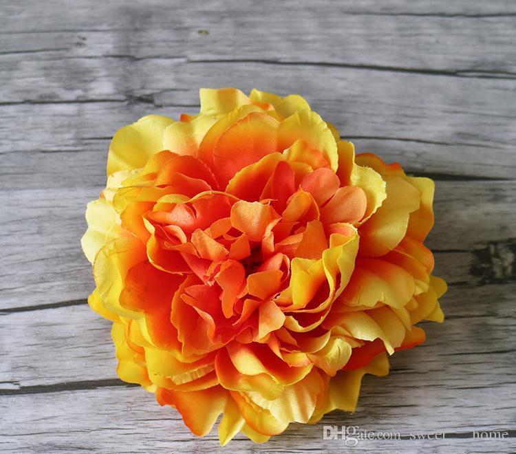 Têtes de soie Pivoine de haute qualité fleur de soirée de mariage Décoration de simulation soie artificielle Pivoine Camélia Rose Fleur L4DL