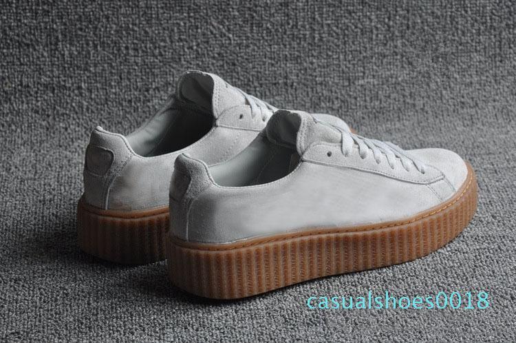 Womens Rihanna Fenty Riri Piattaforma Creeper velluto Confezione Borgogna Nero colore grigio delle signore di marca classiche scarpe casual c18