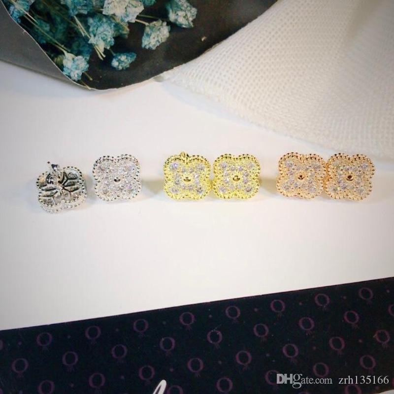 أزياء العلامة التجارية 925 أربع أوراق زهرة مجموعة مجوهرات للنساء قلادة الزفاف سوار الأقراط بيضاء أم اللؤلؤ قذيفة البرسيم المجوهرات