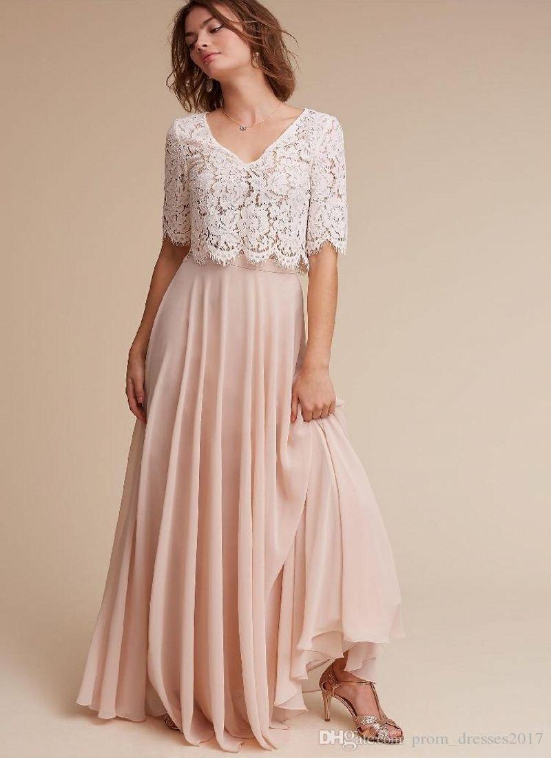 Elegante empoeirado rosa dois pedaços país longo dama de honra vestidos de mangas curtas Lace applique longa noite festa de dreades