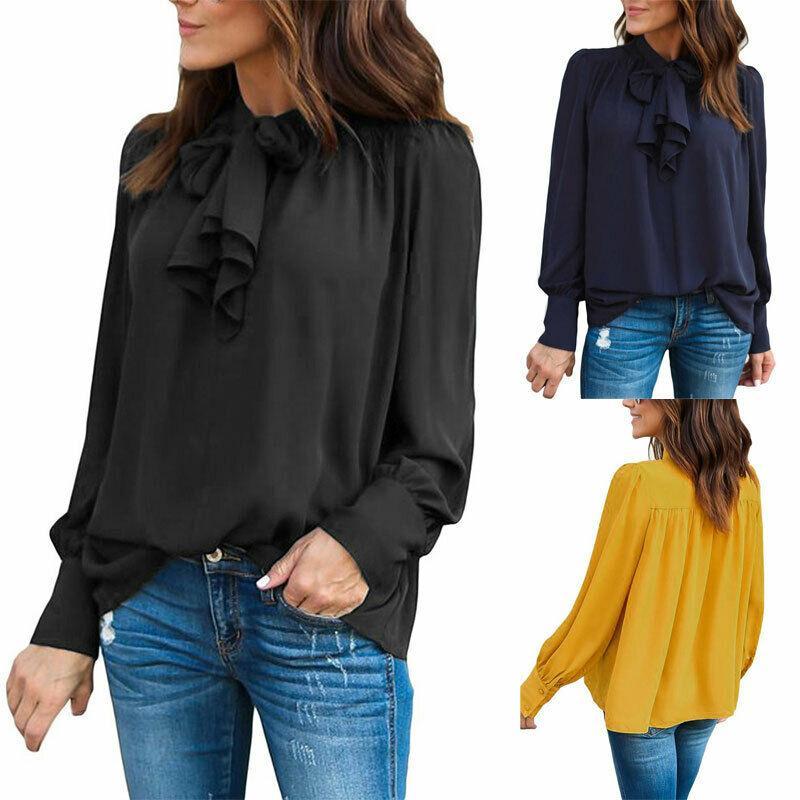 أزياء المرأة كم طويل الصلبة عارضة اللون مكتب السيدات الشيفون الأساسية T-Shirt أعلى القمم BOWKNOT فضفاض