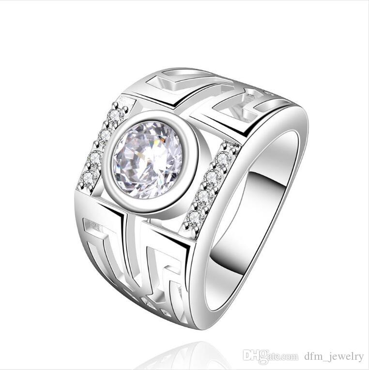 Ronda de plata esterlina anillo de circón sencilla populares plateado tamaño DJSR474 de EE.UU. 7; 925 placa de plata anillos de solitario joyería de las mujeres calientes de la venta