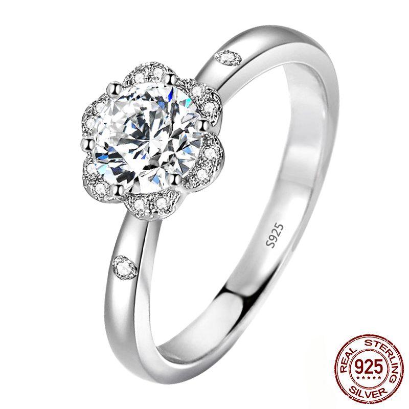 2020 New Arrival Elegant Flower Engagement Ring Wedding Jewelry 925 Sterling Silver 6mm CZ Zircon Rings for Women XR369