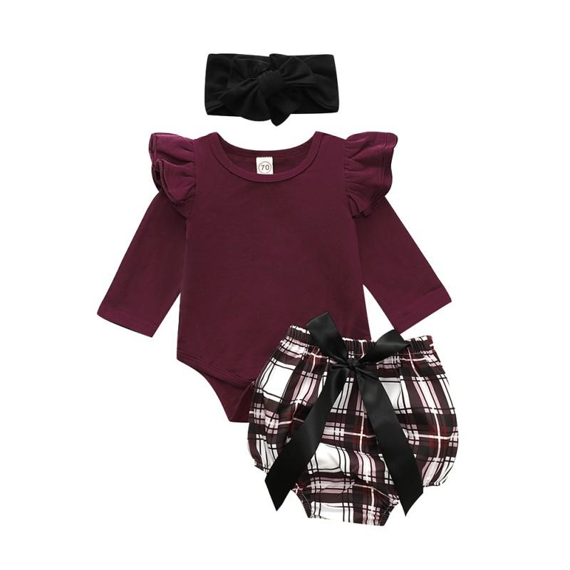 ropa de la muchacha nuevo bebé determinado de la manga de la mosca de romper + pantalones de flores + diadema ropa del otoño usa 6M-2T