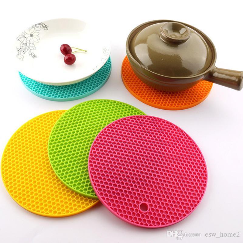 Tischset Multifunktionale Runde Rutschfeste Hitzebeständige Matte Coaster Kissen Platzdeckchen Topflappen Tisch Silikon Küche Werkzeug