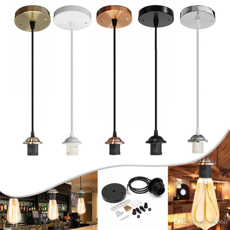 Retro Pingente de luz E27 Luzes Chandelier Interior com chandelier Craft Screw teto Rose Lâmpada PVC Tecido Flex Lamp AC110V 220V