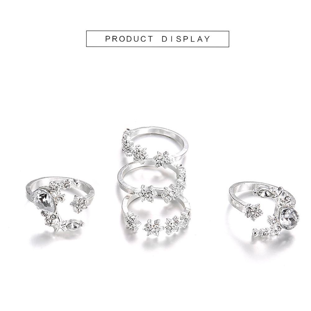 5 Rings Set New Bohemian Vintage Women Alloy Star Moon Shape Finger Rings Punk 10.9