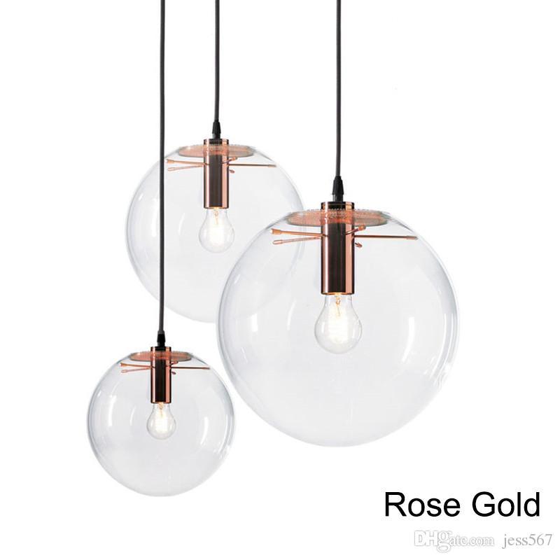 Lampada a sospensione a LED Globo Globo in vetro cromato lampada a sospensione a sfera a sfera lustro lustro Sospensione luci da cucina Apparecchio E27 Home Hanging Lighting
