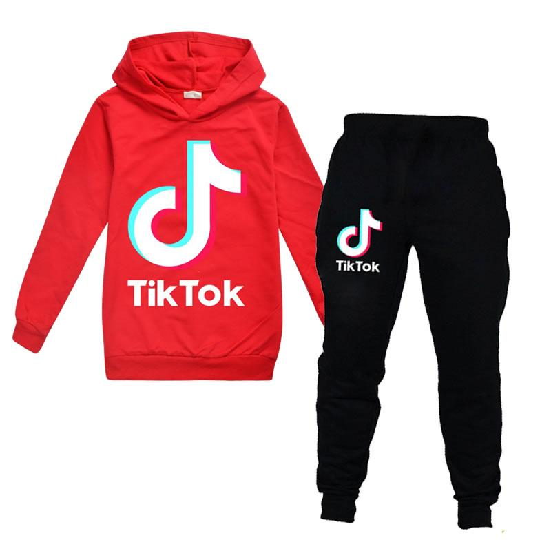 Youth Boys Girls TIK-Tok Pullover Hoodie and Sweatpants Suit 2 Piece Outfit Fashion Sweatshirt Set