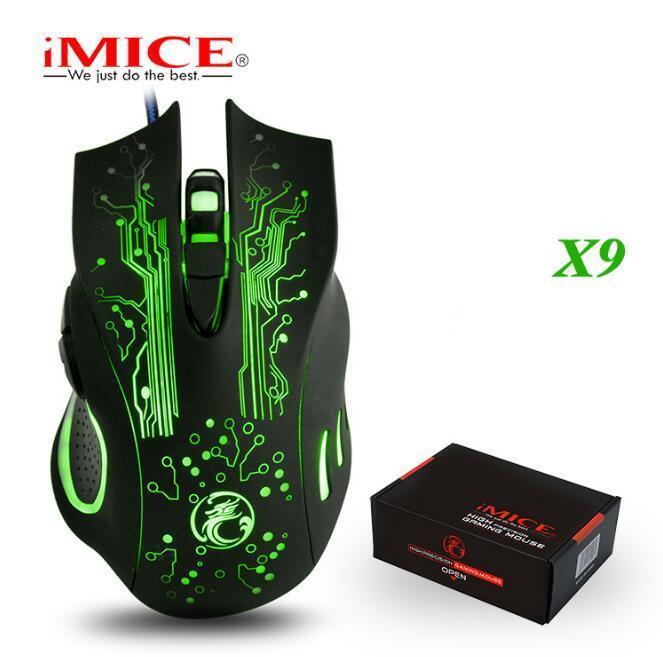 패키지 원본 iMICE의 X9의 USB 유선 게이밍 마우스 6 개 버튼 5000DPI LED 광학 유선 케이블 게이머 마우스 컴퓨터 노트북 게임 마우스