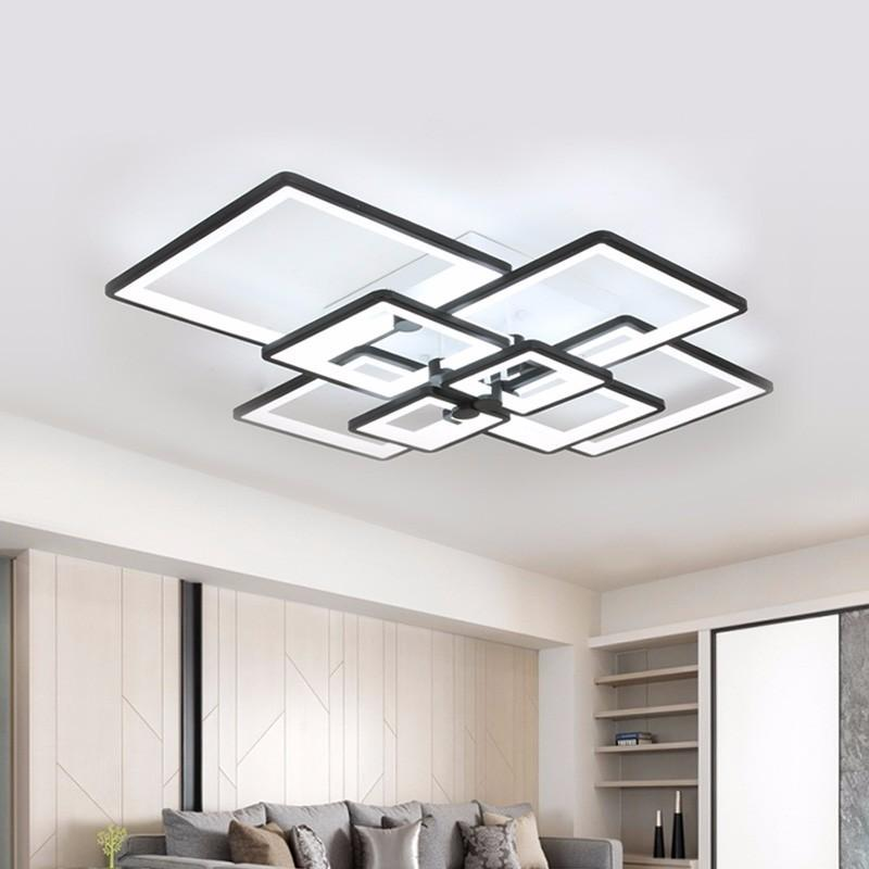Modern Chandelier LED Lighting For Living Room Square Black Home Dining  Light Fixtures With Remote Control Bedroom Lamp Lustre Kitchen Chandeliers  ...