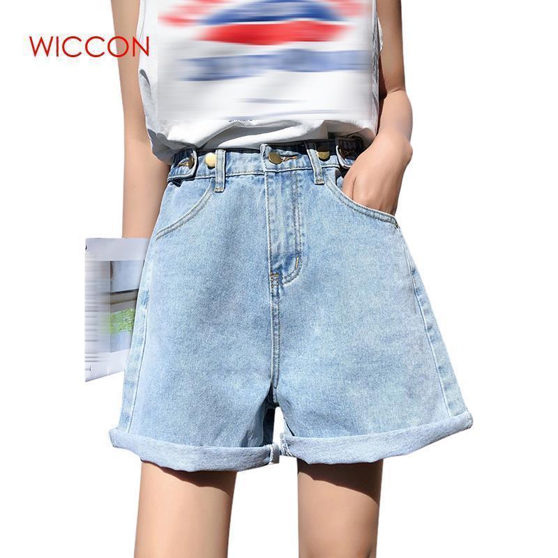 Pantalones cortos de mezclilla de las mujeres de cintura alta 2019 Nueva mujer coreana Retro Verano Casual Use una línea de pierna ancha pantalones cortos sueltos delgados Y19050905