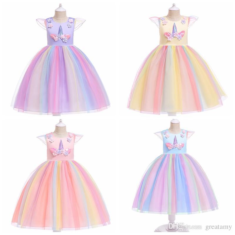 Детская Принцесса платье Единорог рождественские юбки для девочек цвет радуги девочка сетка пачка платья Хэллоуин Рождество косплей костюм