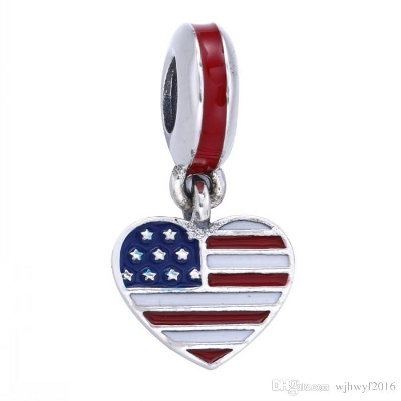 Novos corações dos EUA encantos com esmaltes multicolor 925 jóias de prata esterlina para as mulheres se encaixa famosas pulseiras de moda DIY fazendo Hb552