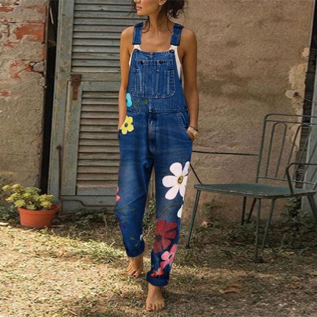 Tulum Bayan Tulum Şık Çiçek Jeans Kayış tulumlar Vintage Kız Denim Önlüğü Pantolon Streetwear Macacao Feminino # G30