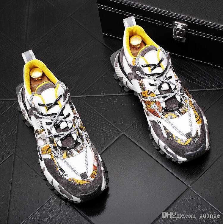 Neuer heißer Verkaufs-Trend Männer beiläufige Schuhe Herbst Lace-Up Outdoor-Anti-Rutsch-Mann-Turnschuhe Qualitäts-Luxus-Breathable Löcher Herren Schuhe E310