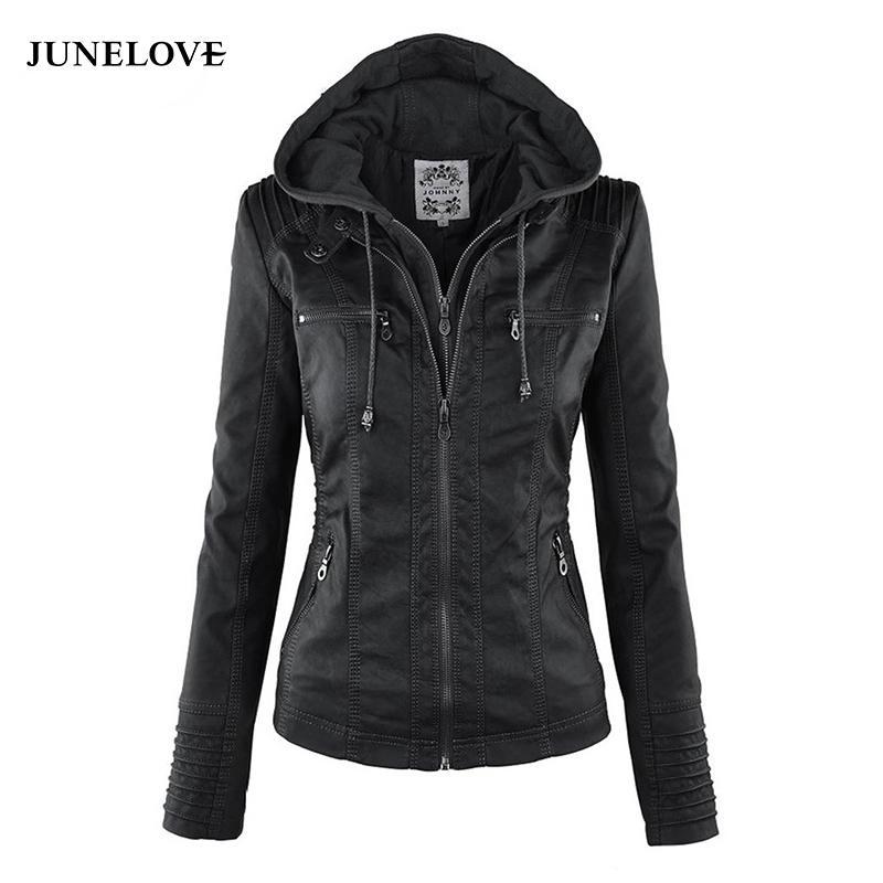 JuneLove Mujeres sudaderas con capucha Chaqueta de invierno Moto Giro caliente Collor Ladies prendas de vestir exteriores de cuero de imitación de la PU chaqueta de la capa femenina
