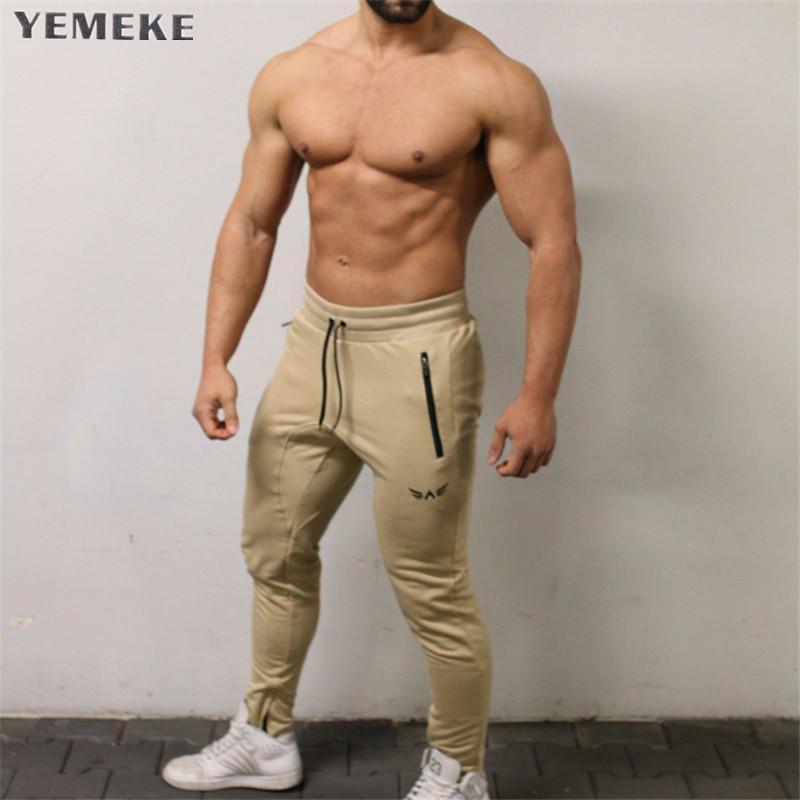 YEMEKE Повседневные брюки для бегунов Мужские спортивные штаны Узкие брюки с высокой эластичностью Спортивная одежда Спортивные брюки для брюк Y19061001