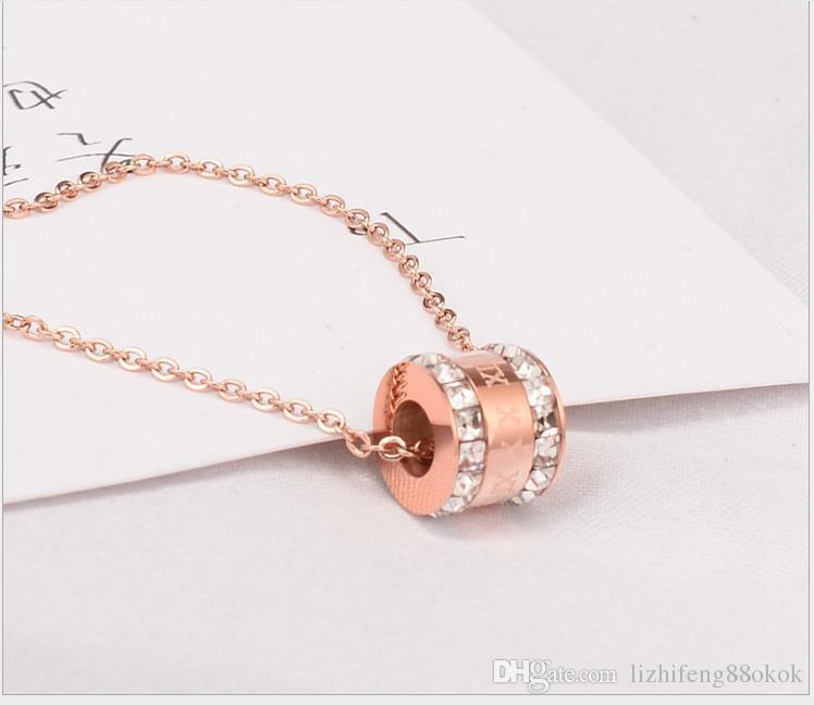 Fashionable Super Flash Double Row Square Diamond Rome Digital Pendant Rose Gold Necklace