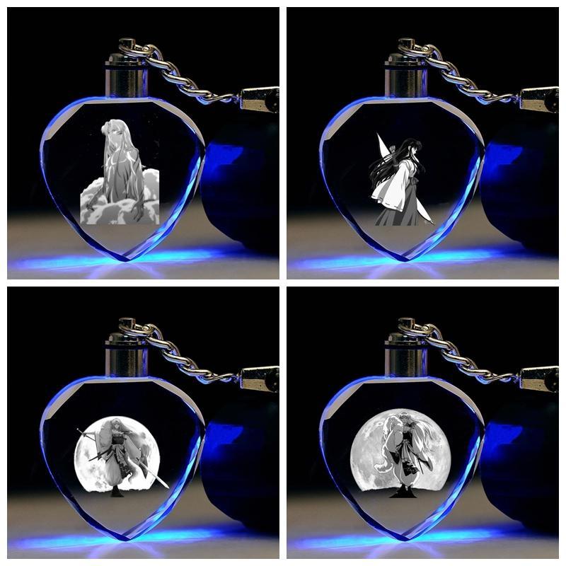 COSANER Inuyasha Role Heart-shaped Anime LED Schlüsselanhänger Schlüsselanhänger Kristall-Spielzeug Schlüsselanhänger Light Schlüsselanhänger Unisex Geschenke