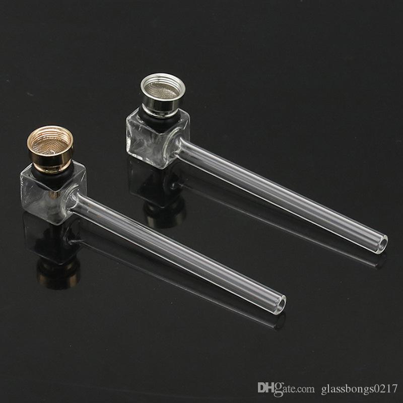 высококачественная стеклянная ложка трубы стеклянная труба для курения ручной работы курительные трубки с металлической чашей для сухой травы табачная трубка