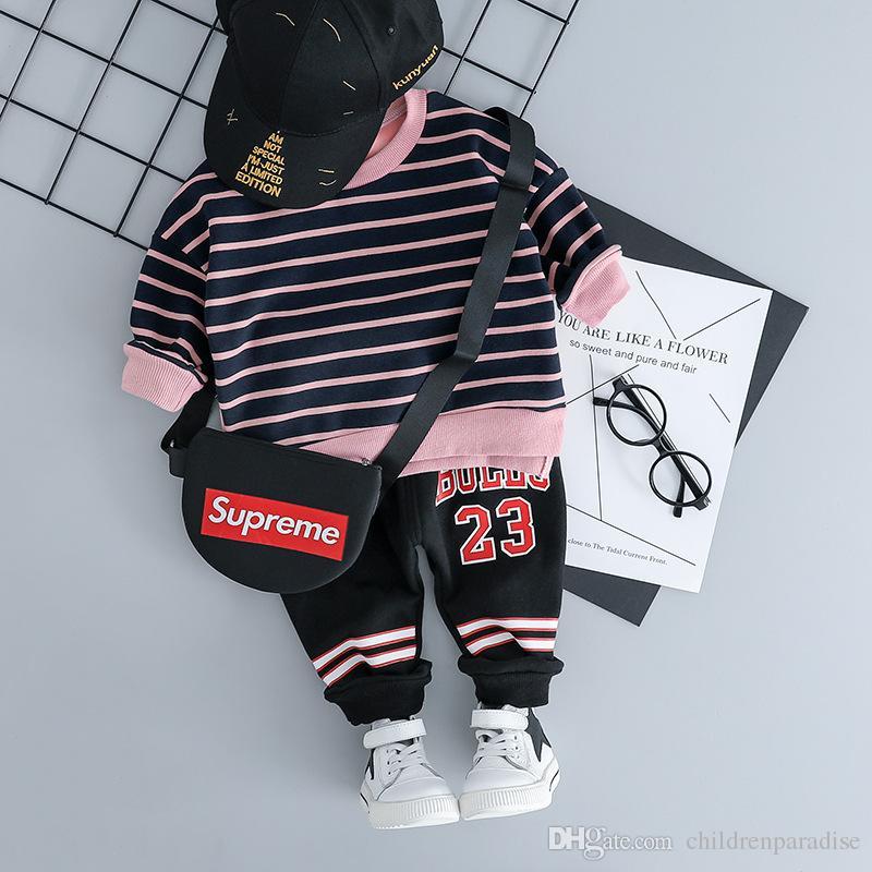 Kids Children Clothing Set 2019 Baby Boys Girls Suits Cotton Infant Autumn Winter Girl Boy Striped Letter Tops+Pants Clothes Set