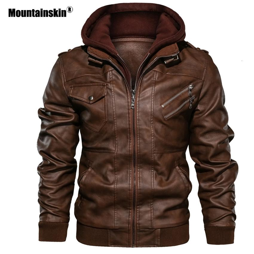 Mountainskin 2019 Yeni Erkek Deri Ceket Sonbahar Casual Motosiklet PU Ceket Biker Deri Coats Marka Giyim AB Boyut SA722 S191019