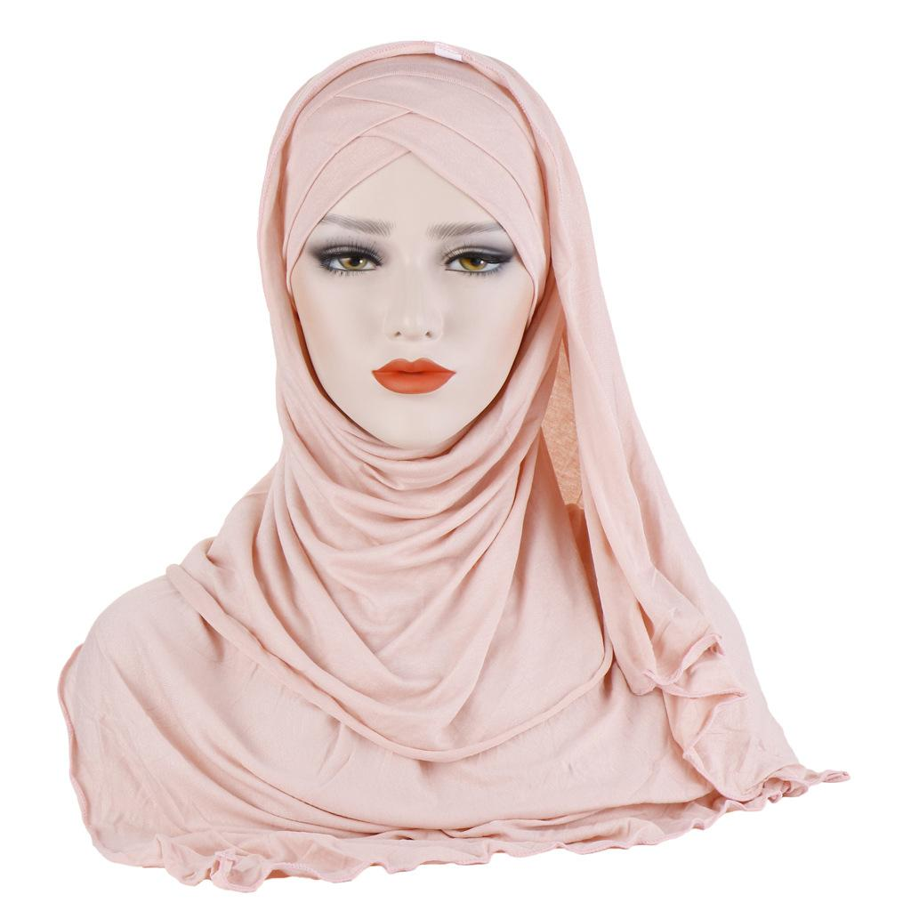 Muslim Headscarf Islamic Hat for Woman Solid Color Cotton Head Cover Turban Hat Bandana Headwrap Newest