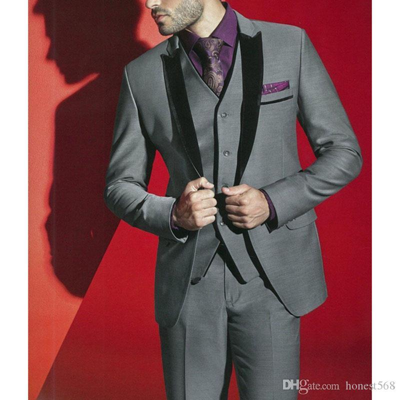 Guapos Un botón Padrinos de boda Pico Solapa Novio Tuxedos Trajes de hombre Boda / Baile de graduación / Cena Best Man Blazer (chaqueta + pantalones + corbata + chaleco) A258
