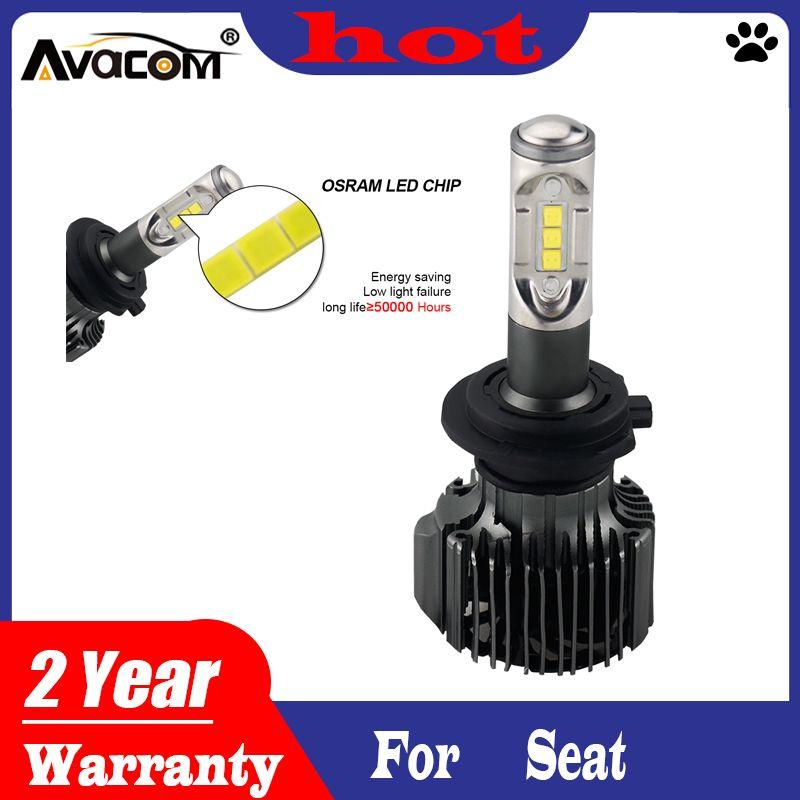 Avacom H11 H4 LED H7 automatique phares 6500K 72W 12000LM Car Styling Canbus Lampe LED pour Seat leon / ibiza / altea / ateca / cordoba / Exeo