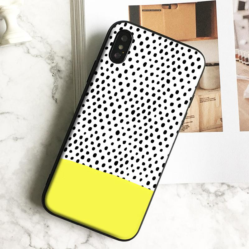 Coque Luxury Polka Dots Art Phone Case for iPhone 11 Pro Xs Max Xr 8 7 6s Plus 5 SE Case Soft Black TPU Silicone Cover.