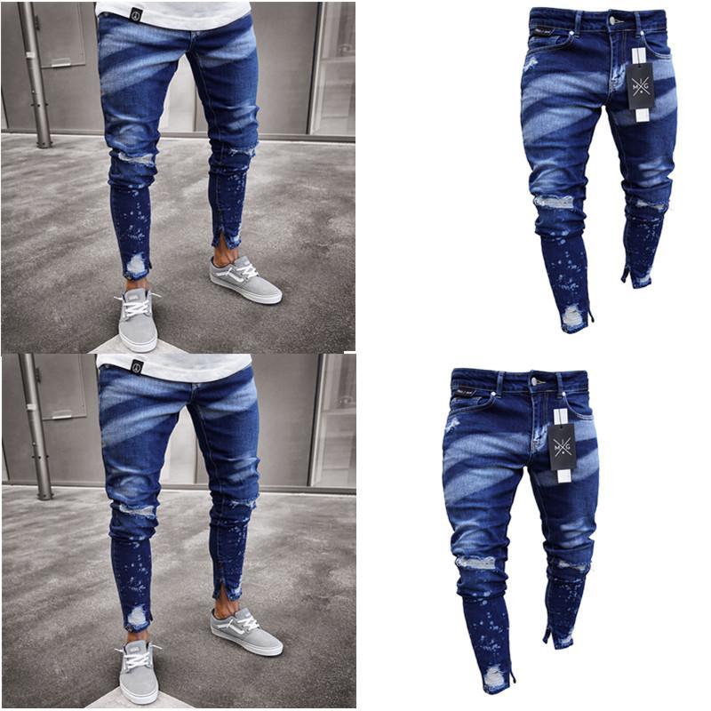 2019 di alta qualità ginocchio foro cava piedi maschili pantaloni vernice esplosione personalità cerniera jeans da uomo slim taglia S-3XL ginocchio di alta qualità hollow h