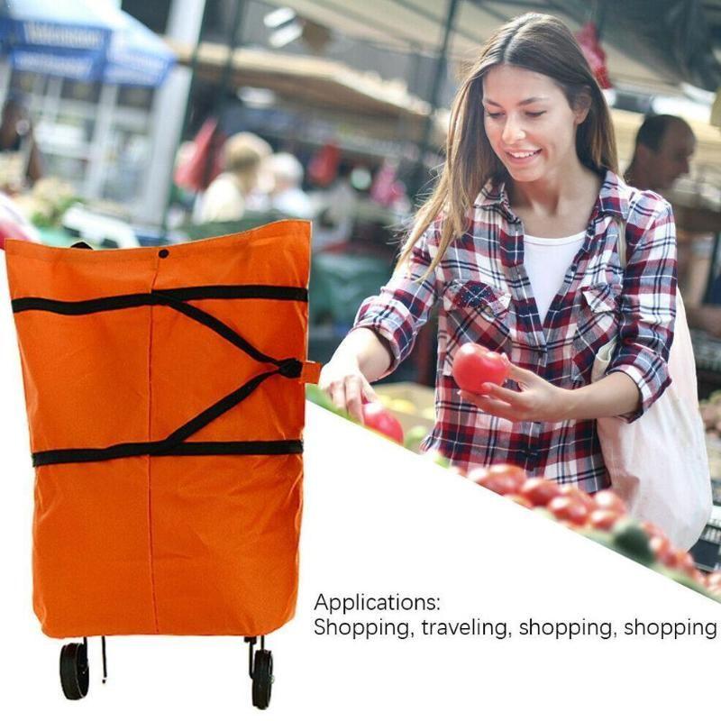 Dobrável Shopping Bag Grocery Compras Organizador Trolley Bag pequeno Vegetable Cart Pull sacos de compras rodas no reboque Bags Ba E5S9