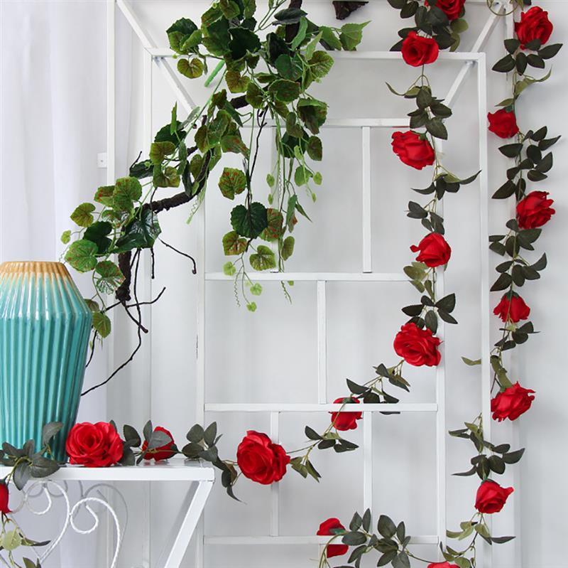 Wholesale Hot Wedding Home Flower Ivy Hanging Vine Garland Silk Fake Rose