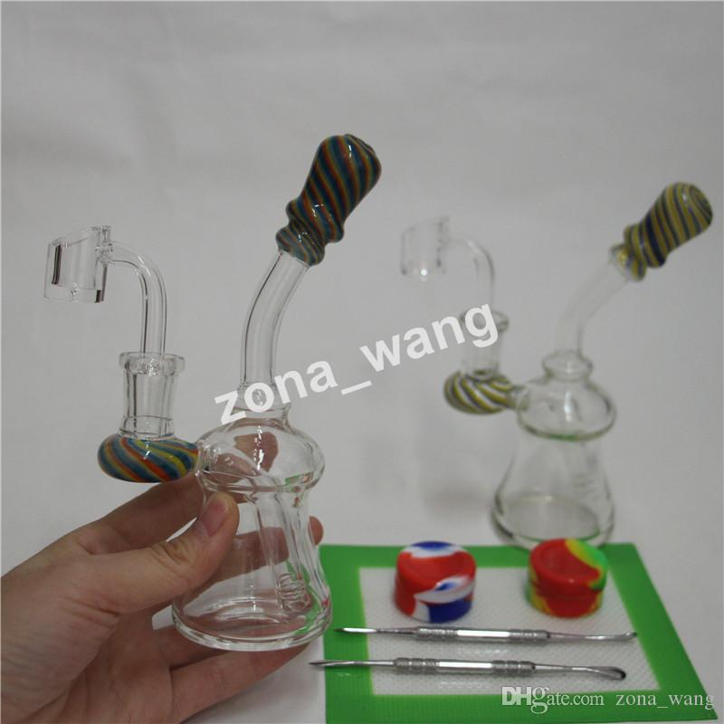 Glass bongs reciclador tubo inline vidrio percolador Bong plataformas petrolíferas vórtice embriagadores con pipas de agua de cera DAB silicona almohadilla tubería de agua DAB aparejo