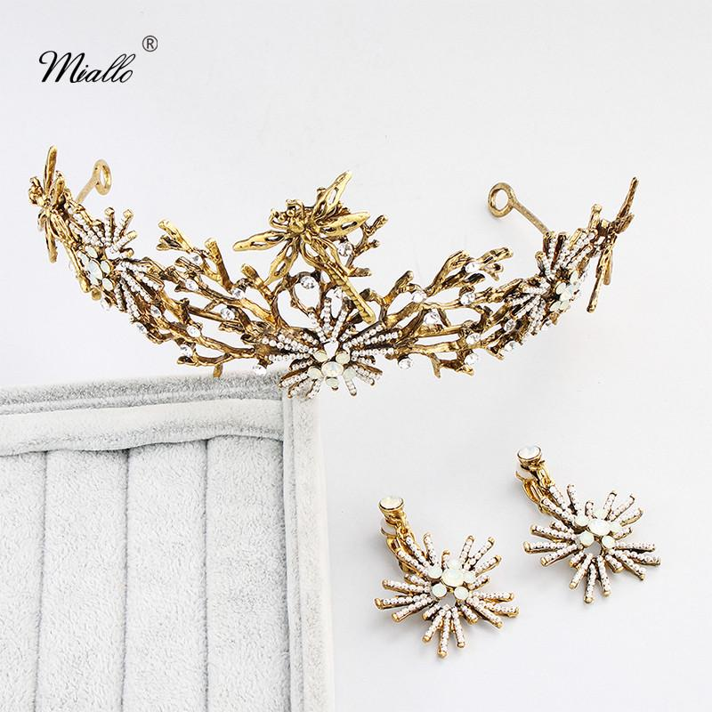 wholesale Newest Classic Dragonfly and Flowers Princess Tiaras and Crowns Opal Rhinestone Crystal Wedding Queen Diadem