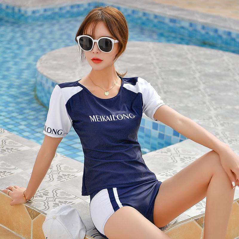 Two Piece Hot Spring Gym Running Jogging Fitness Swimsuit Women's Split Shorts High waist Swimwear Female Boxer Bathing Suit