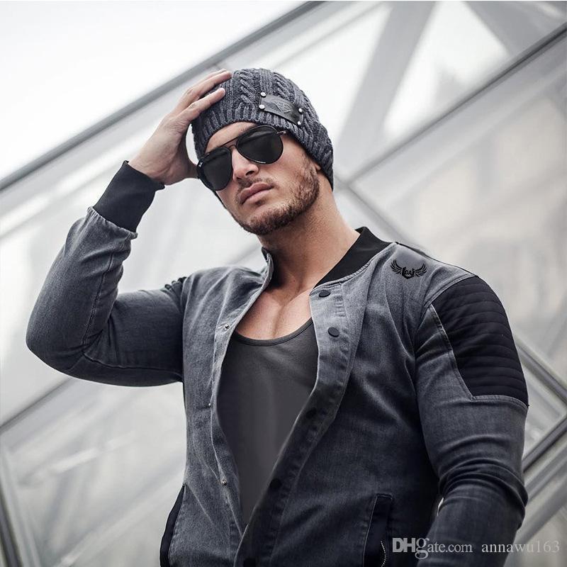 Nueva venta caliente streetwear mosaico hombres de la chaqueta de mezclilla de moda de primavera de manga larga chaqueta de mezclilla de color 2 = M por mayor 3XL